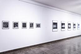 Tematem zdjęcia są oprawione czarno-białe fotografie wiszące na ścianie. Od lewej są to małe formaty, zbliżone do kwadratu. Dalej większe – w formie ustawionych pionowo prostokątów. Wszystkie eksponowane fotografie przedstawiają białe plamki i linie na ciemnych tłach, mogące się kojarzyć z rozbłyskami światła w ciemności.