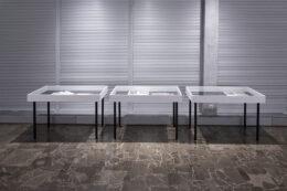 Tematem zdjęcia są trzy gabloty będące częścią ekspozycji. Stoją obok siebie, na tle zasłoniętych roletami okien. Gabloty są białe, na cienkich, czarnych nóżkach. Wewnątrz, pod szkłem, leżą otwarte książki i wydruki. Pierwszy plan zdjęcia zajmuje podłoga.