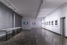 Fotografia przedstawia kolejny widok ogólny wystawy. Środkową część zdjęcia zajmuje podłoga, po lewej stronie uchwycono trzy gabloty, a po prawej drzwi oraz oprawione fotografie wiszące na białej ścianie. Głębiej, na wprost, wiszą dwa ekrany z projekcjami.
